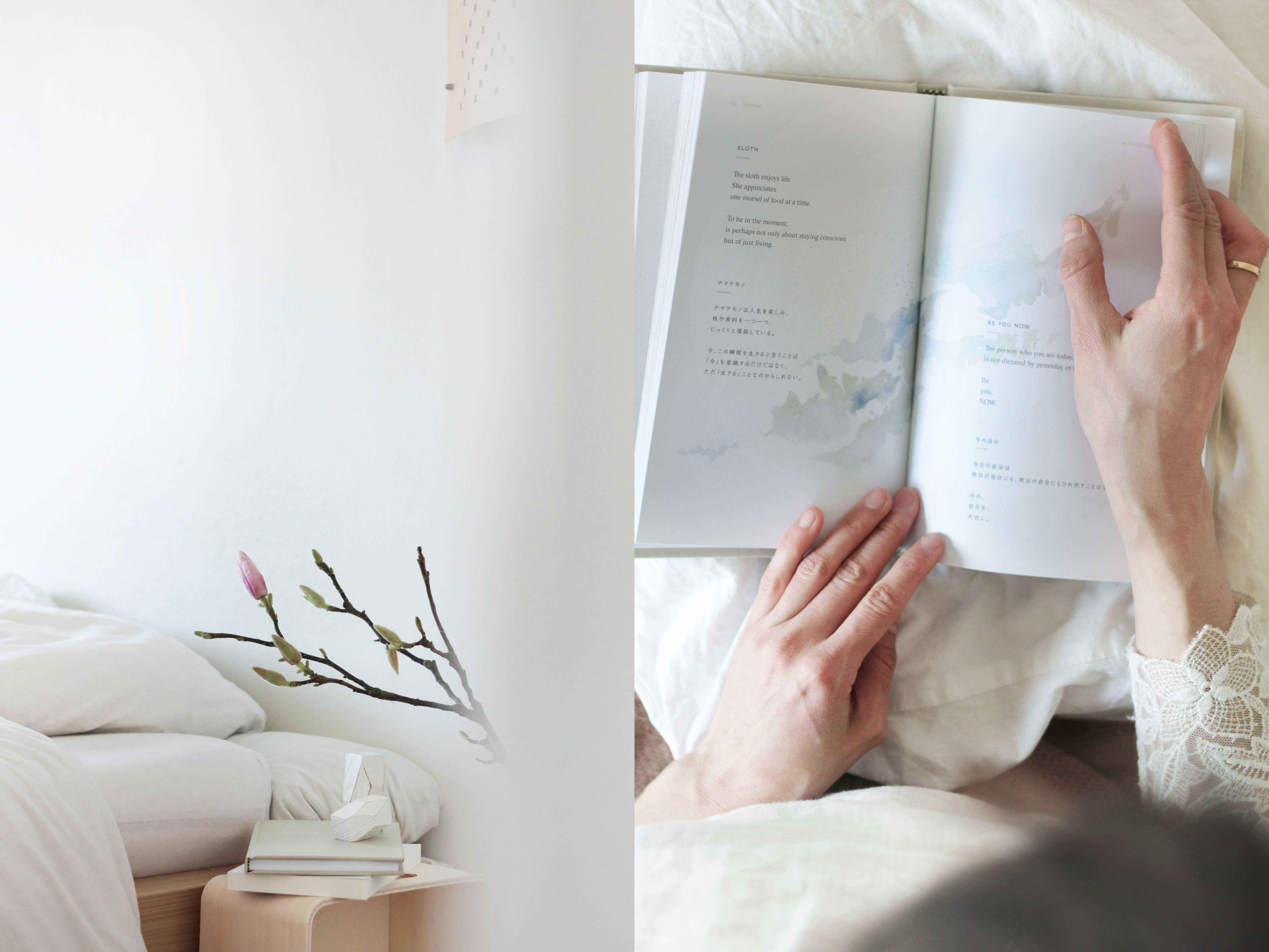 bedside table nightstand reading books holistic slowliving