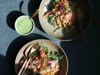 vegan vegetarian radish quinoa salad