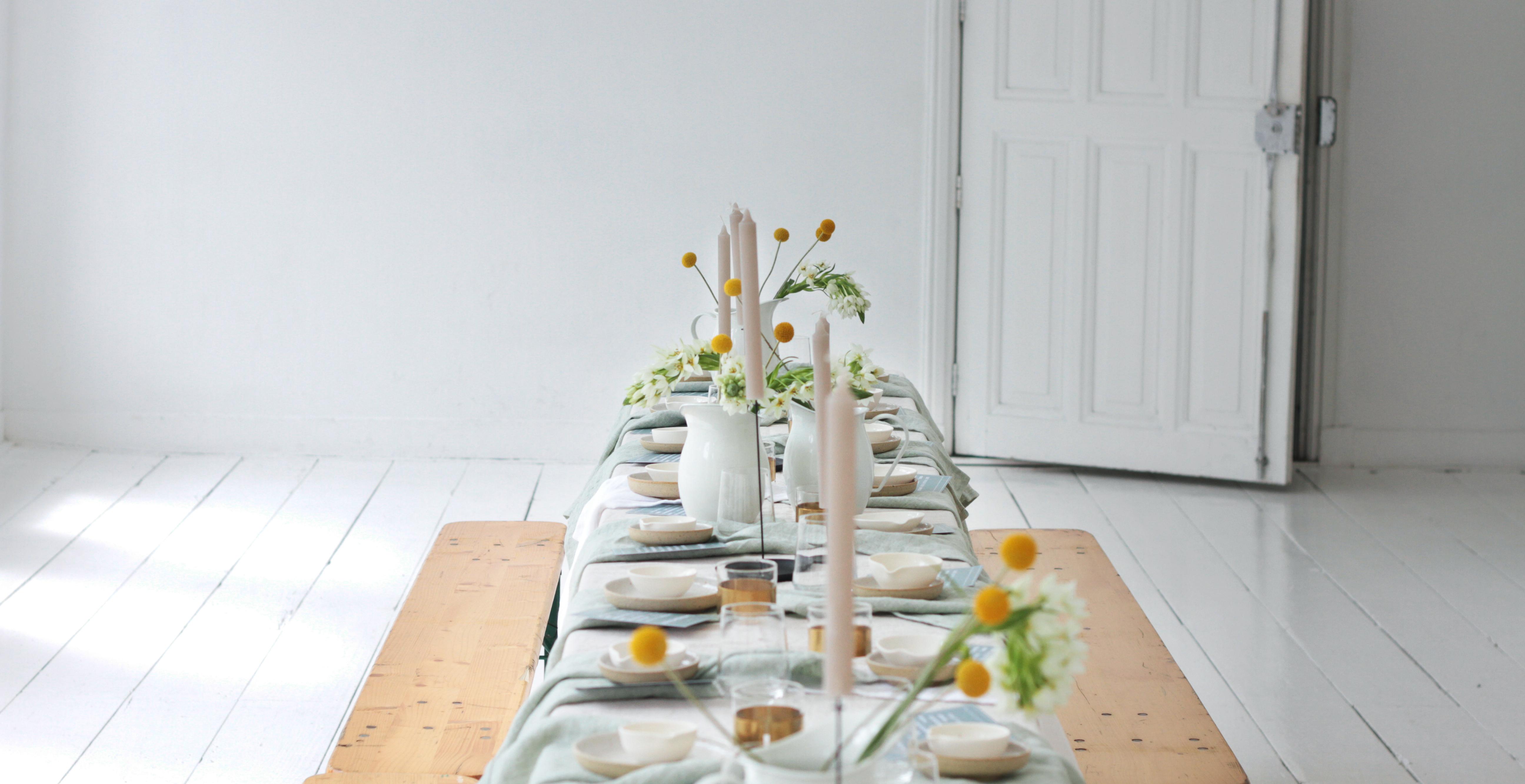 tableware flowers linen ceramics slowliving