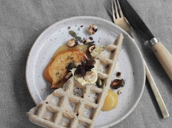 sourdough waffle, quince, whipped ghee vegetarian recipe