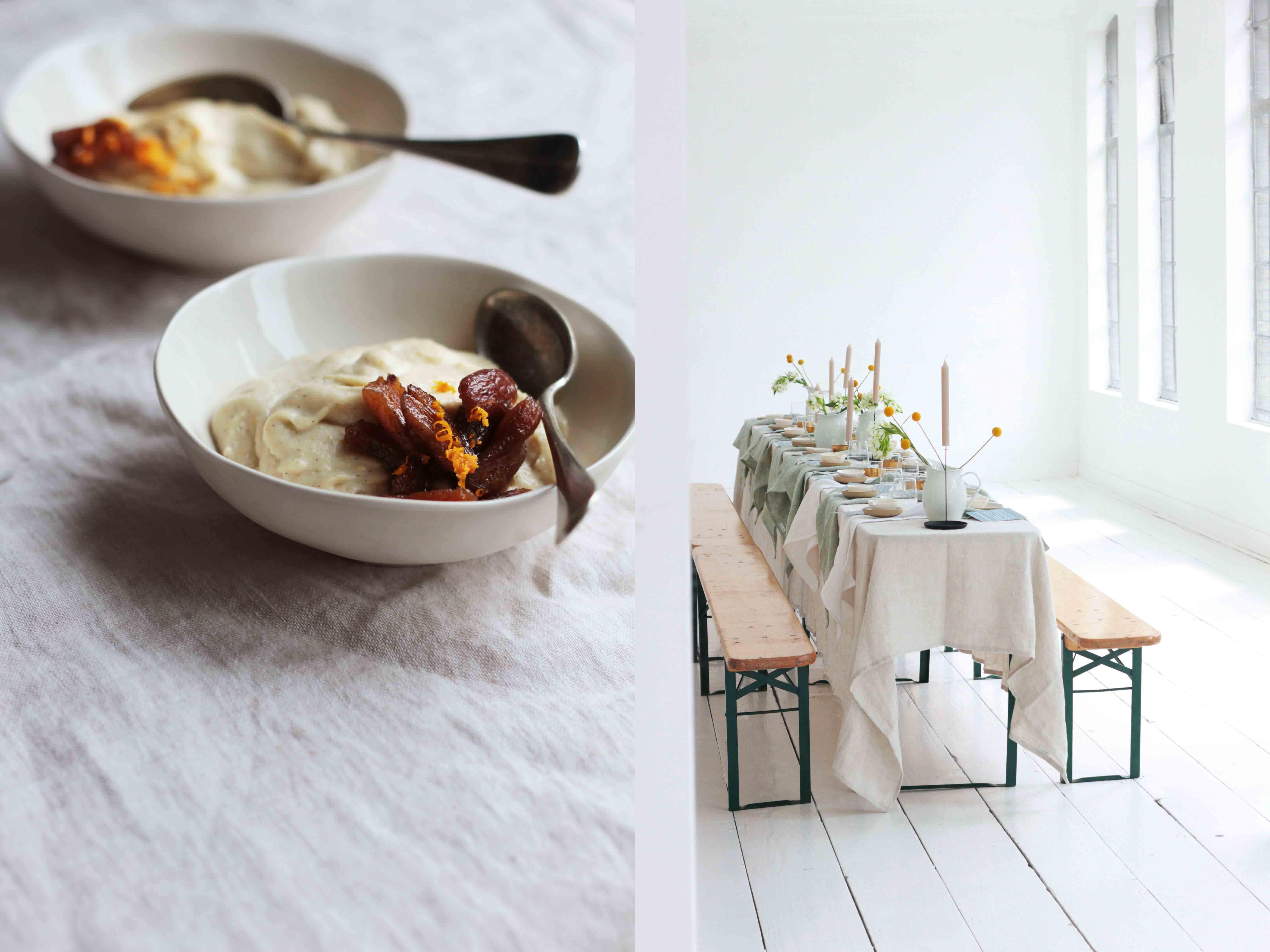 vegan cookbook launch porridge tableware linen